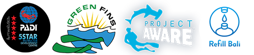 Bali Scuba in partnership with PADI, Green Fins, Project Aware, Refill station
